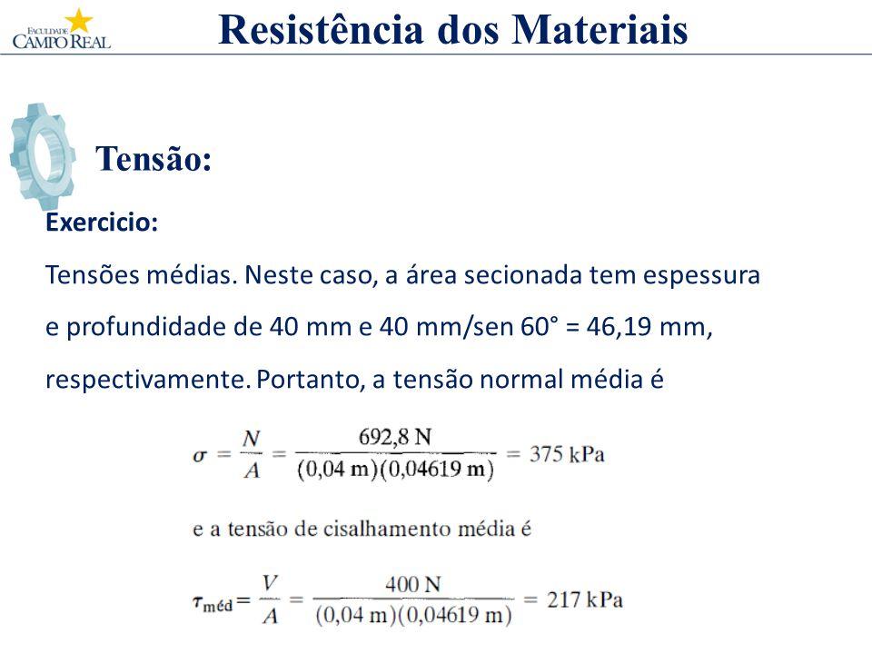 Tensão: Resistência dos Materiais Exercicio: Tensões médias. Neste caso, a área secionada tem espessura e profundidade de 40 mm e 40 mm/sen 60° = 46,1