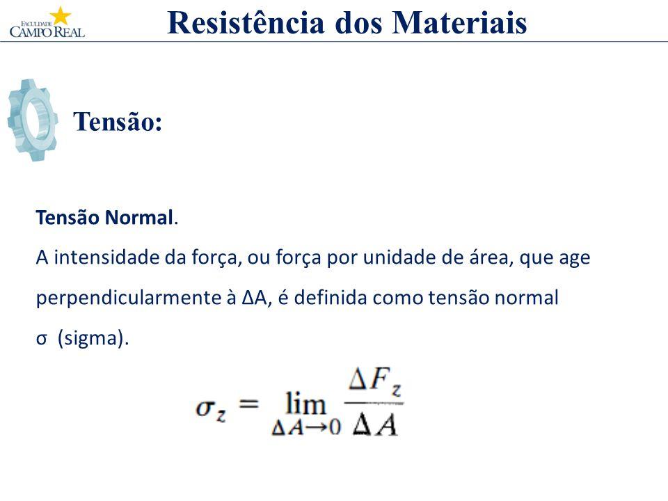 Tensão: Resistência dos Materiais Tensão Normal. A intensidade da força, ou força por unidade de área, que age perpendicularmente à A, é definida como