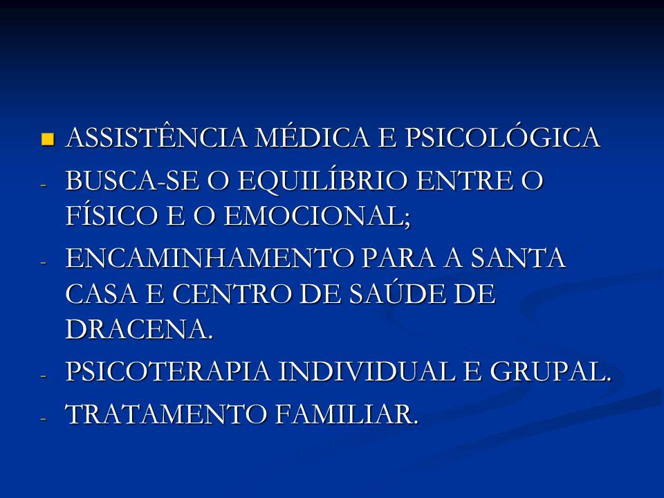 ASSISTÊNCIA MÉDICA E PSICOLÓGICA ASSISTÊNCIA MÉDICA E PSICOLÓGICA - BUSCA-SE O EQUILÍBRIO ENTRE O FÍSICO E O EMOCIONAL; - ENCAMINHAMENTO PARA A SANTA