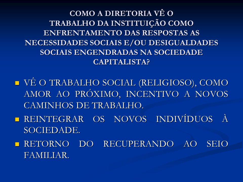 COMO A DIRETORIA VÊ O TRABALHO DA INSTITUIÇÃO COMO ENFRENTAMENTO DAS RESPOSTAS AS NECESSIDADES SOCIAIS E/OU DESIGUALDADES SOCIAIS ENGENDRADAS NA SOCIE
