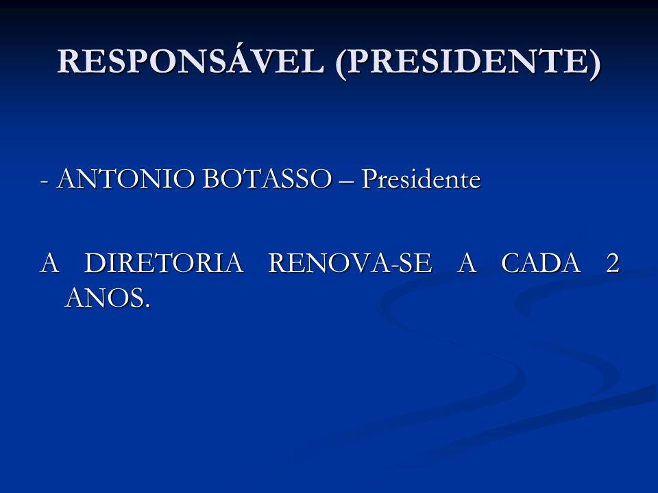 RESPONSÁVEL (PRESIDENTE) - ANTONIO BOTASSO – Presidente A DIRETORIA RENOVA-SE A CADA 2 ANOS.