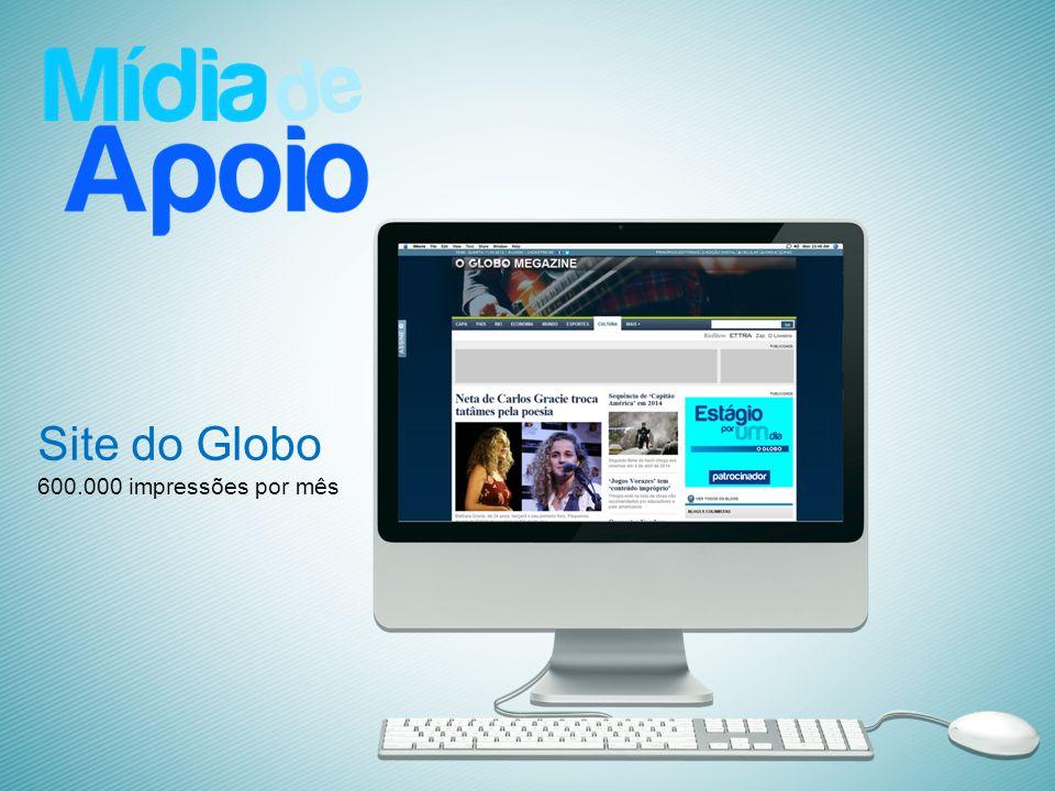 Site do Globo 600.000 impressões por mês