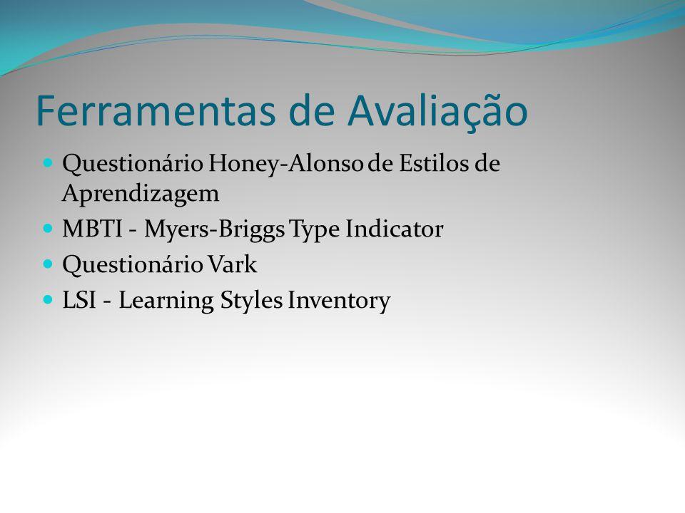 Ferramentas de Avaliação Questionário Honey-Alonso de Estilos de Aprendizagem MBTI - Myers-Briggs Type Indicator Questionário Vark LSI - Learning Styl