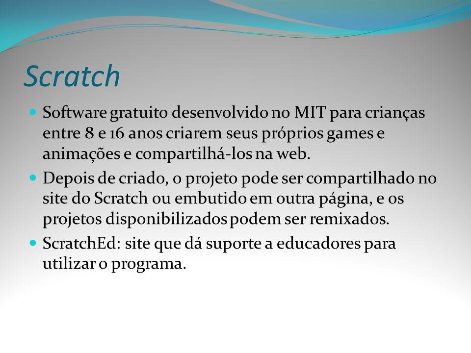 Scratch Software gratuito desenvolvido no MIT para crianças entre 8 e 16 anos criarem seus próprios games e animações e compartilhá-los na web. Depois