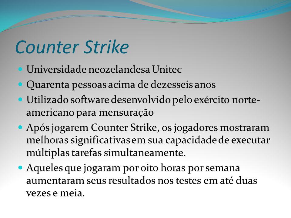 Counter Strike Universidade neozelandesa Unitec Quarenta pessoas acima de dezesseis anos Utilizado software desenvolvido pelo exército norte- american