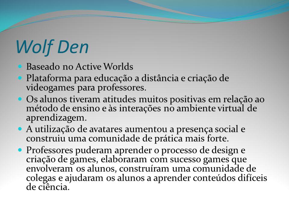 Wolf Den Baseado no Active Worlds Plataforma para educação a distância e criação de videogames para professores. Os alunos tiveram atitudes muitos pos