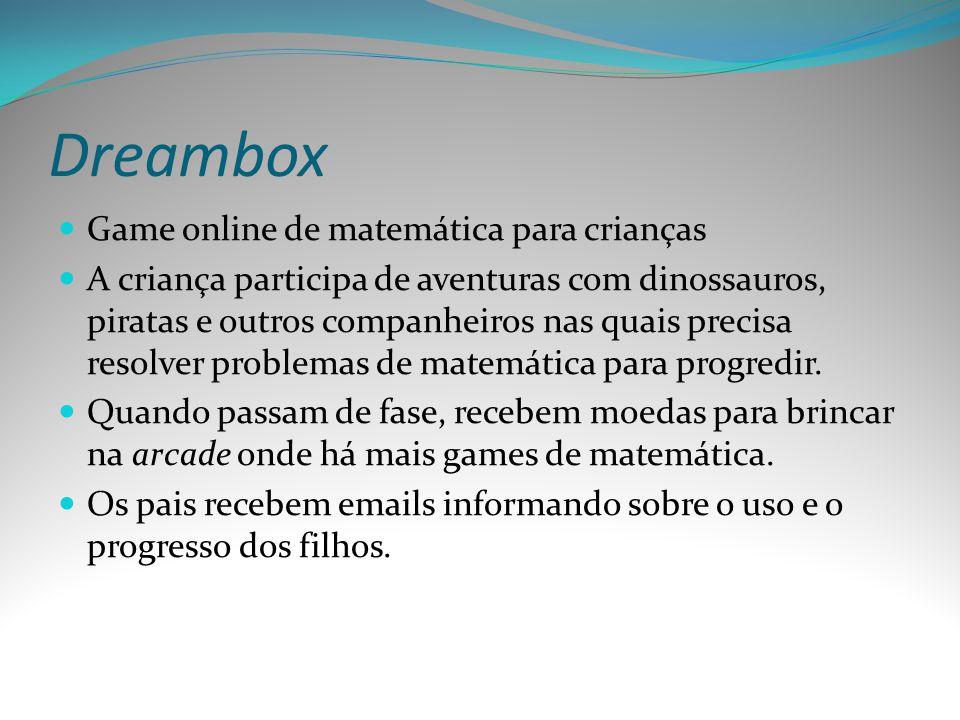 Dreambox Game online de matemática para crianças A criança participa de aventuras com dinossauros, piratas e outros companheiros nas quais precisa res