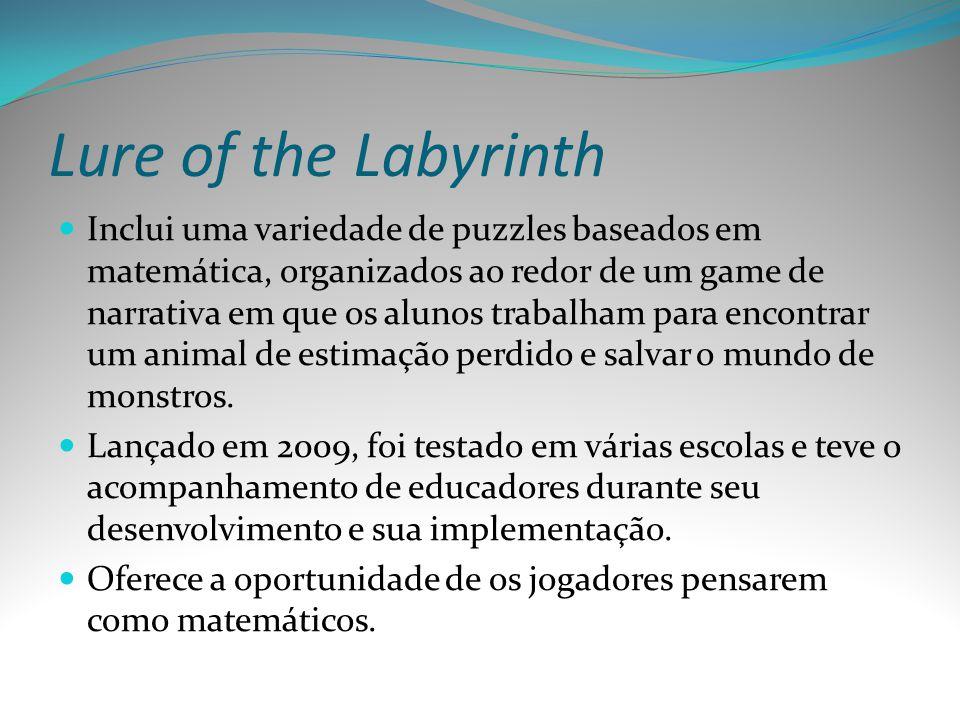 Lure of the Labyrinth Inclui uma variedade de puzzles baseados em matemática, organizados ao redor de um game de narrativa em que os alunos trabalham