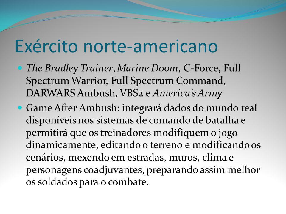 Exército norte-americano The Bradley Trainer, Marine Doom, C-Force, Full Spectrum Warrior, Full Spectrum Command, DARWARS Ambush, VBS2 e Americas Army
