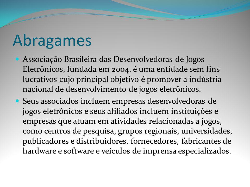 Abragames Associação Brasileira das Desenvolvedoras de Jogos Eletrônicos, fundada em 2004, é uma entidade sem fins lucrativos cujo principal objetivo