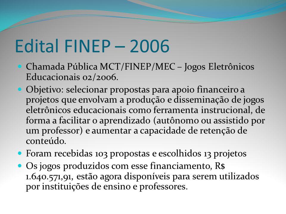 Edital FINEP – 2006 Chamada Pública MCT/FINEP/MEC – Jogos Eletrônicos Educacionais 02/2006. Objetivo: selecionar propostas para apoio financeiro a pro