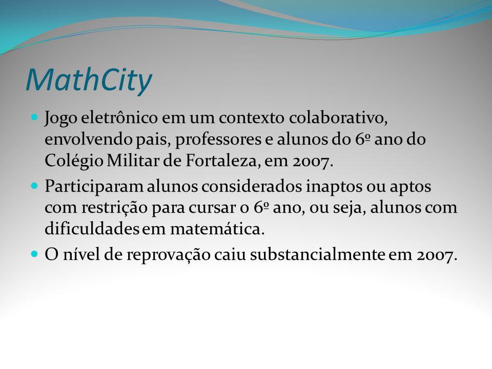 MathCity Jogo eletrônico em um contexto colaborativo, envolvendo pais, professores e alunos do 6º ano do Colégio Militar de Fortaleza, em 2007. Partic