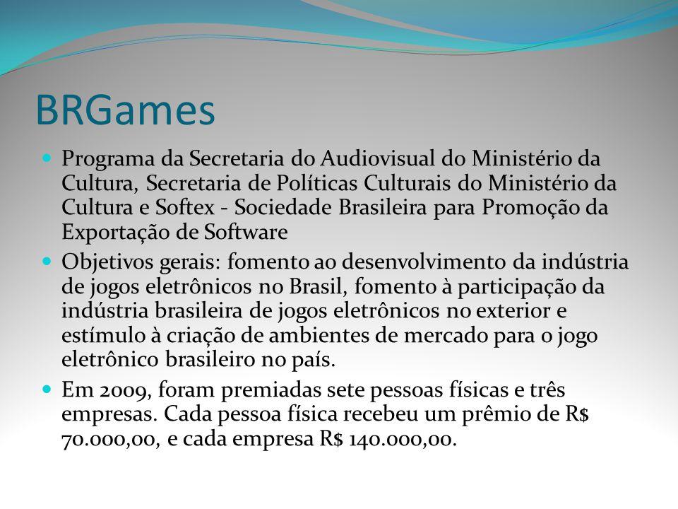 BRGames Programa da Secretaria do Audiovisual do Ministério da Cultura, Secretaria de Políticas Culturais do Ministério da Cultura e Softex - Sociedad