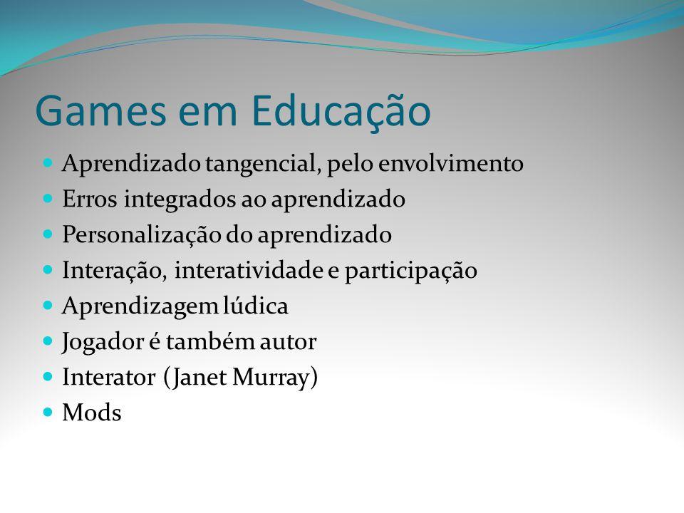 Games em Educação Aprendizado tangencial, pelo envolvimento Erros integrados ao aprendizado Personalização do aprendizado Interação, interatividade e