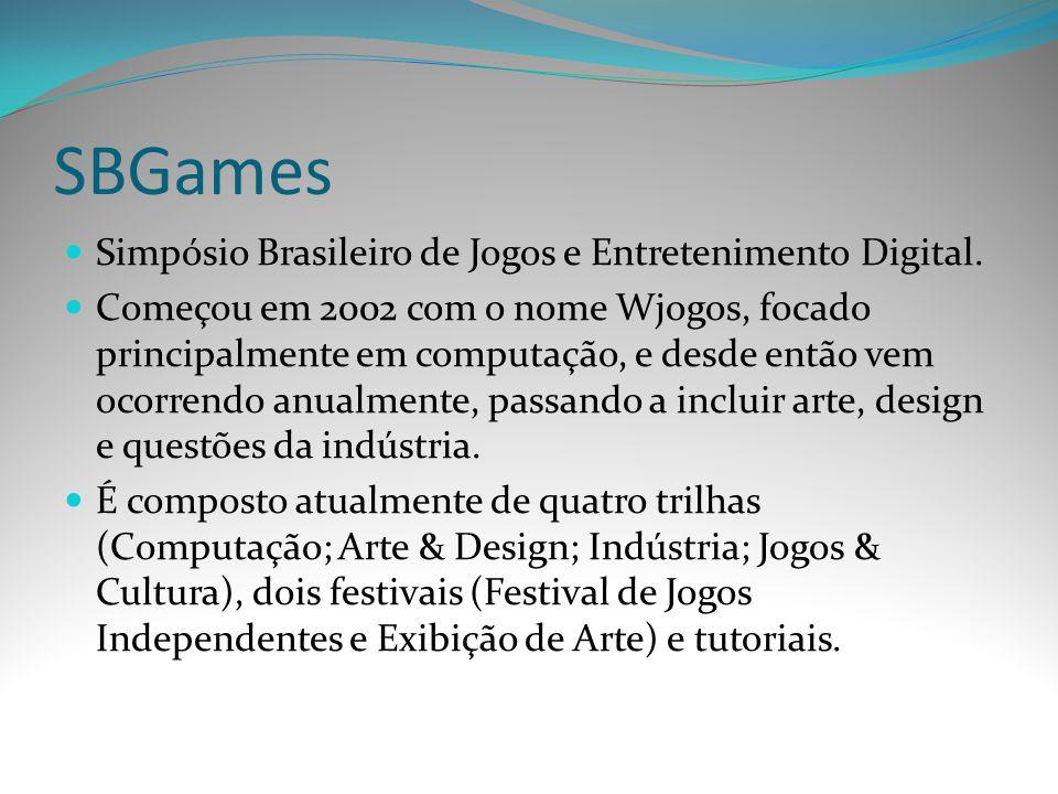 SBGames Simpósio Brasileiro de Jogos e Entretenimento Digital. Começou em 2002 com o nome Wjogos, focado principalmente em computação, e desde então v