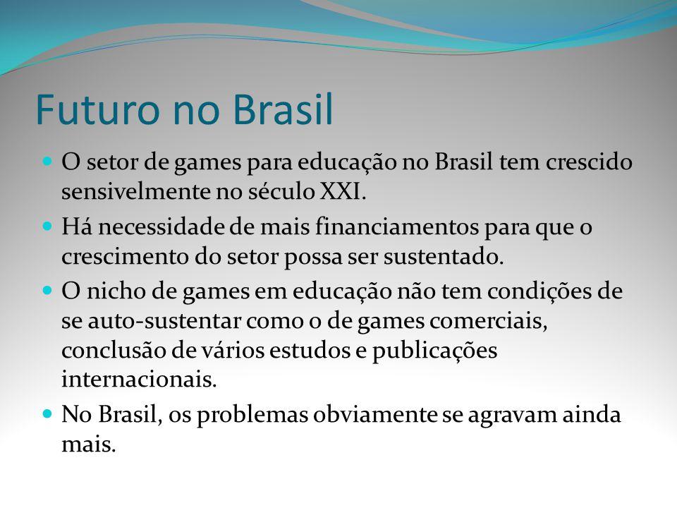 Futuro no Brasil O setor de games para educação no Brasil tem crescido sensivelmente no século XXI. Há necessidade de mais financiamentos para que o c