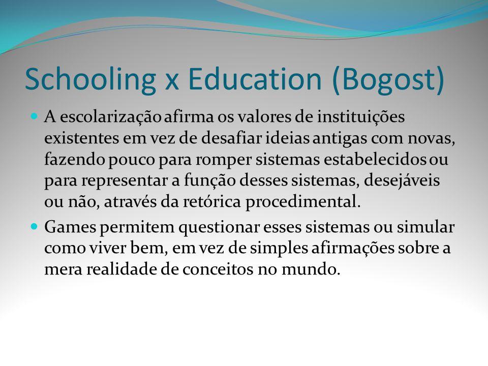 Schooling x Education (Bogost) A escolarização afirma os valores de instituições existentes em vez de desafiar ideias antigas com novas, fazendo pouco