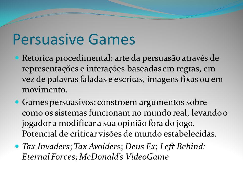 Persuasive Games Retórica procedimental: arte da persuasão através de representações e interações baseadas em regras, em vez de palavras faladas e esc