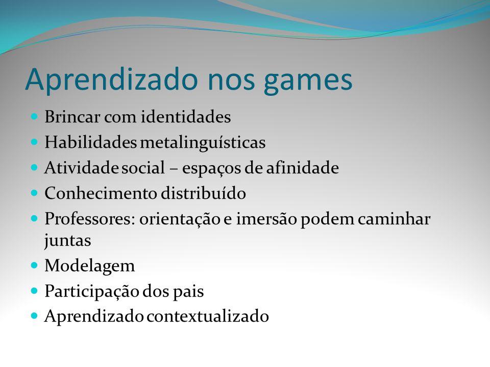 Aprendizado nos games Brincar com identidades Habilidades metalinguísticas Atividade social – espaços de afinidade Conhecimento distribuído Professore