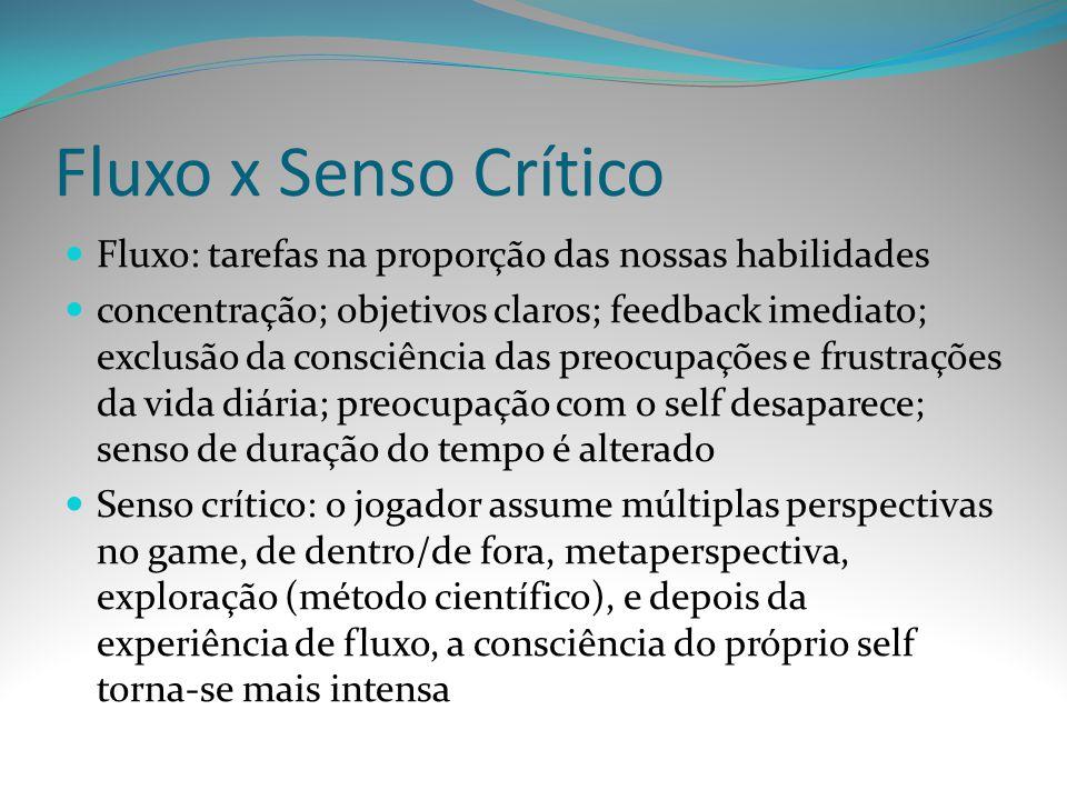 Fluxo x Senso Crítico Fluxo: tarefas na proporção das nossas habilidades concentração; objetivos claros; feedback imediato; exclusão da consciência da