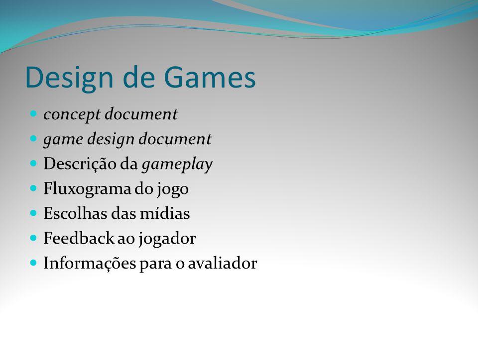 Design de Games concept document game design document Descrição da gameplay Fluxograma do jogo Escolhas das mídias Feedback ao jogador Informações par