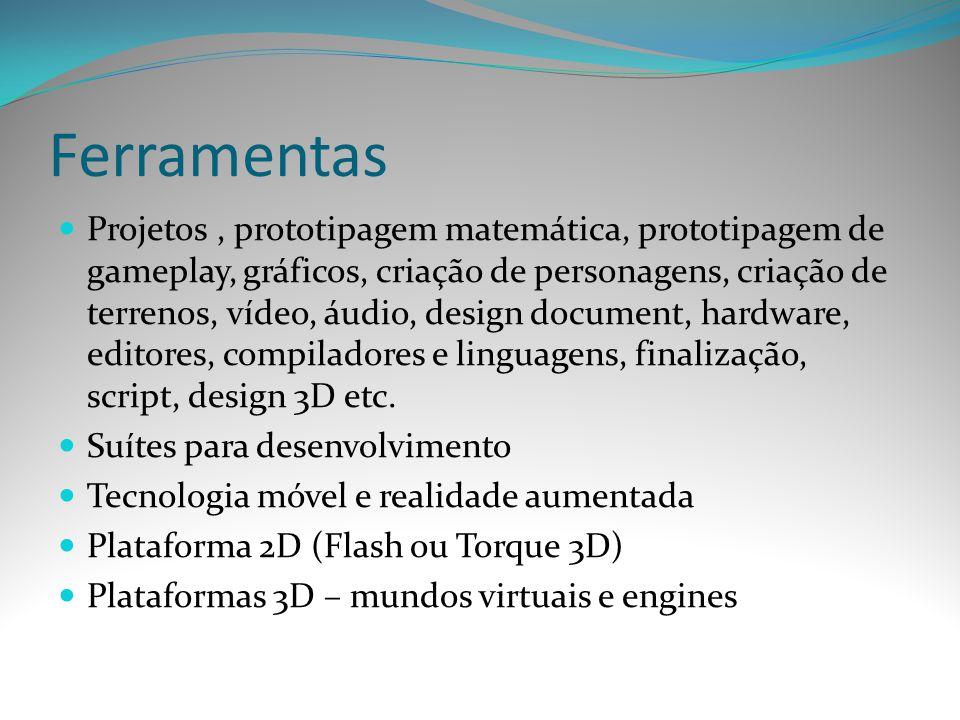 Ferramentas Projetos, prototipagem matemática, prototipagem de gameplay, gráficos, criação de personagens, criação de terrenos, vídeo, áudio, design d