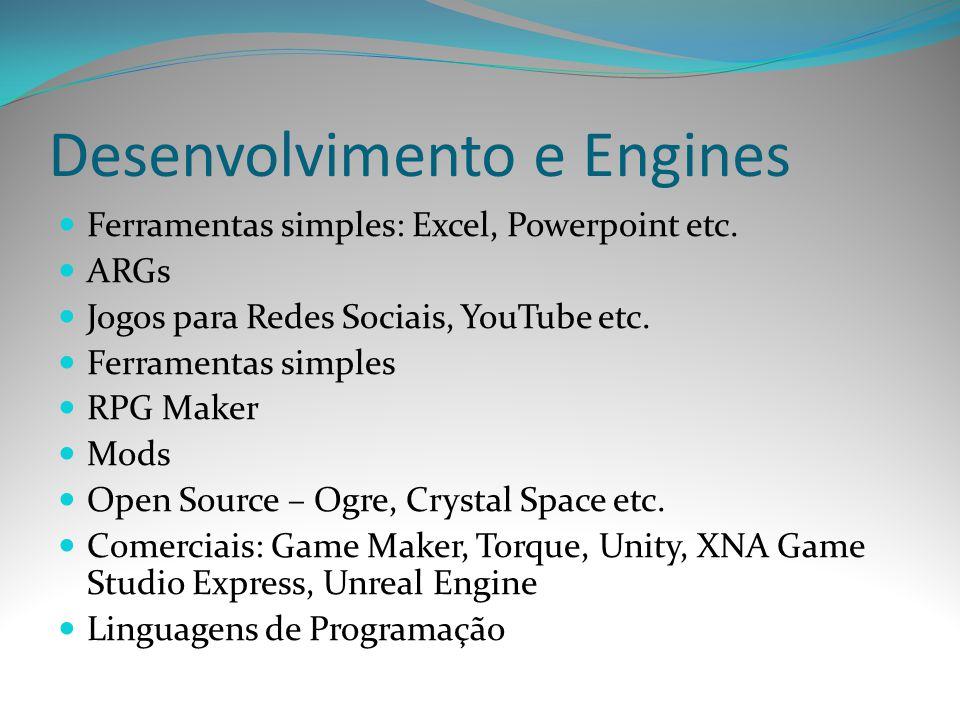 Desenvolvimento e Engines Ferramentas simples: Excel, Powerpoint etc. ARGs Jogos para Redes Sociais, YouTube etc. Ferramentas simples RPG Maker Mods O