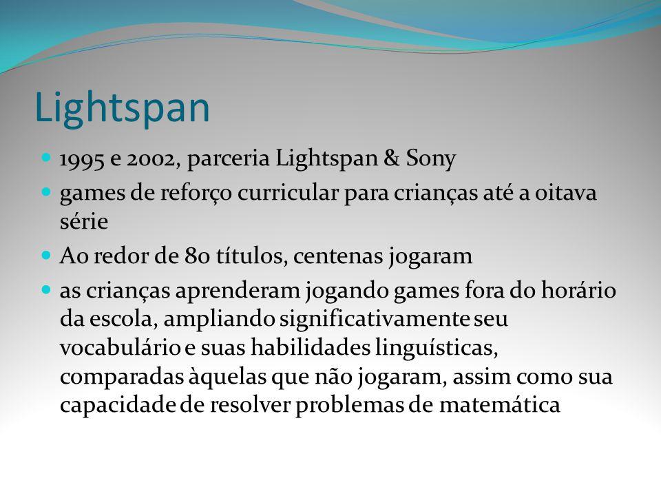 Lightspan 1995 e 2002, parceria Lightspan & Sony games de reforço curricular para crianças até a oitava série Ao redor de 80 títulos, centenas jogaram