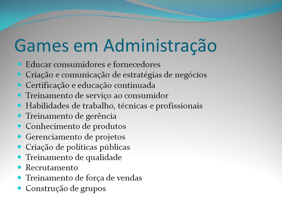 Games em Administração Educar consumidores e fornecedores Criação e comunicação de estratégias de negócios Certificação e educação continuada Treiname
