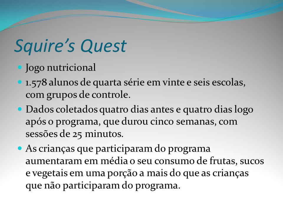 Squires Quest Jogo nutricional 1.578 alunos de quarta série em vinte e seis escolas, com grupos de controle. Dados coletados quatro dias antes e quatr