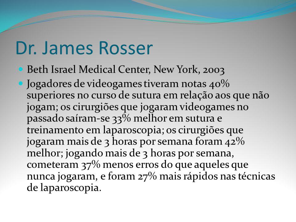 Dr. James Rosser Beth Israel Medical Center, New York, 2003 Jogadores de videogames tiveram notas 40% superiores no curso de sutura em relação aos que