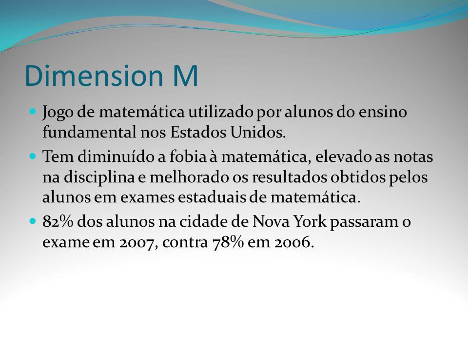 Dimension M Jogo de matemática utilizado por alunos do ensino fundamental nos Estados Unidos. Tem diminuído a fobia à matemática, elevado as notas na