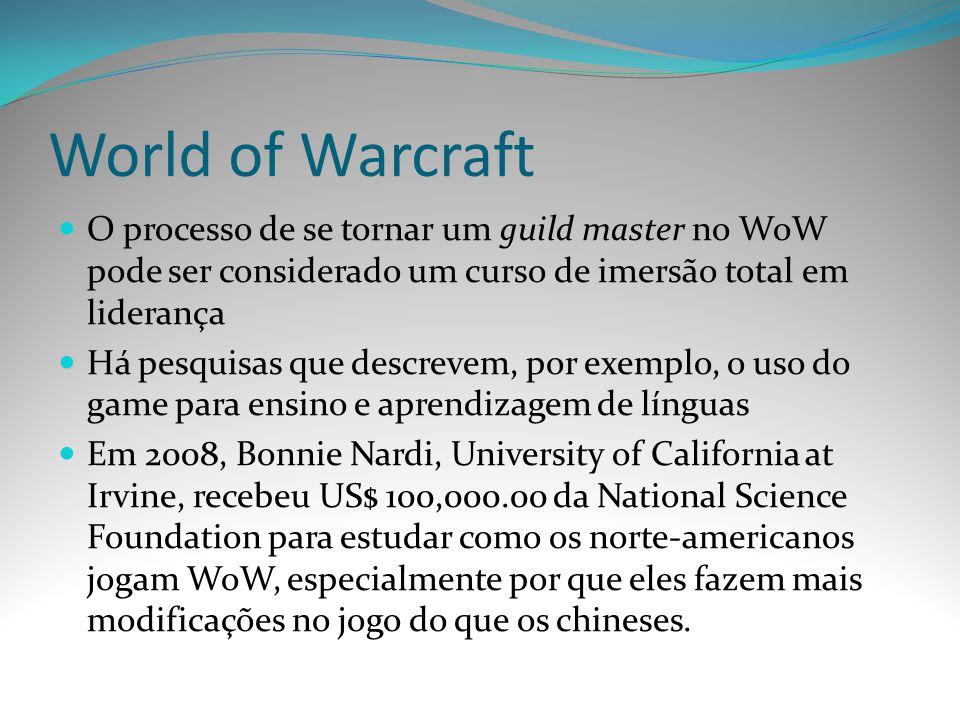 World of Warcraft O processo de se tornar um guild master no WoW pode ser considerado um curso de imersão total em liderança Há pesquisas que descreve