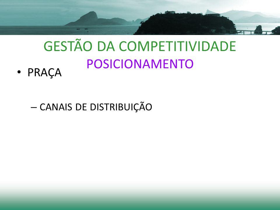 GESTÃO DA COMPETITIVIDADE POSICIONAMENTO PRAÇA – CANAIS DE DISTRIBUIÇÃO