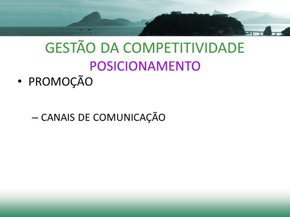GESTÃO DA COMPETITIVIDADE POSICIONAMENTO PROMOÇÃO – CANAIS DE COMUNICAÇÃO