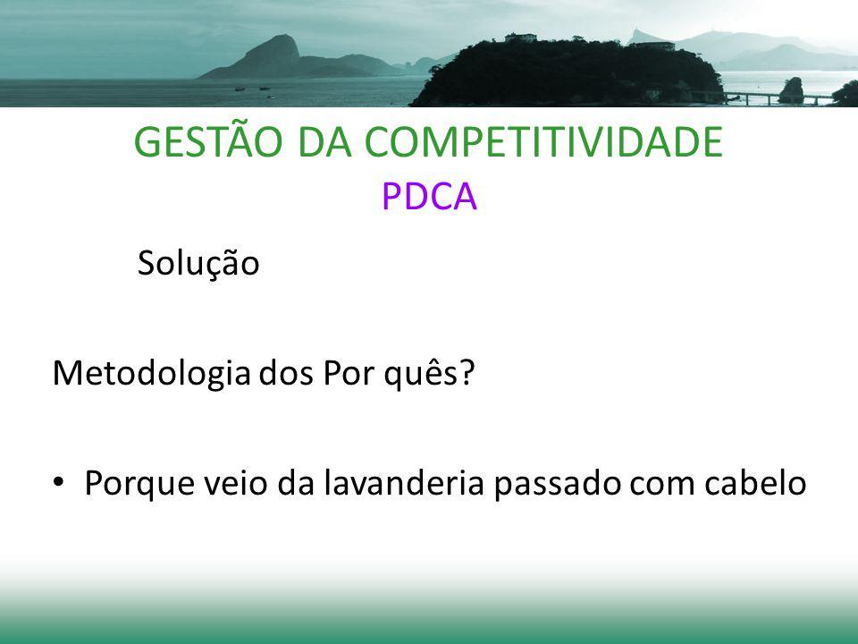 GESTÃO DA COMPETITIVIDADE PDCA Solução Metodologia dos Por quês.