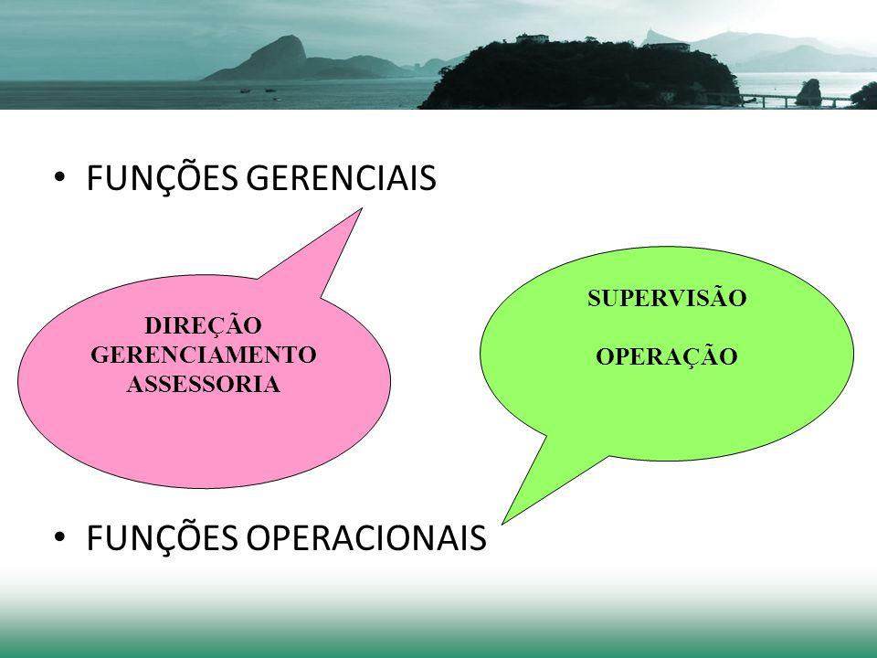 FUNÇÕES GERENCIAIS FUNÇÕES OPERACIONAIS DIREÇÃO GERENCIAMENTO ASSESSORIA SUPERVISÃO OPERAÇÃO