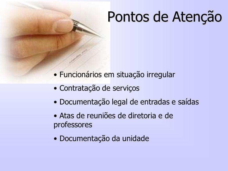 Pontos de Atenção Funcionários em situação irregular Contratação de serviços Documentação legal de entradas e saídas Atas de reuniões de diretoria e d