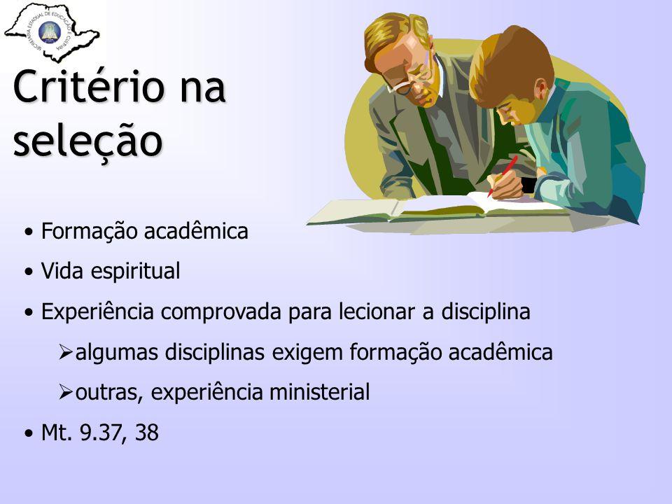 Critério na seleção Formação acadêmica Vida espiritual Experiência comprovada para lecionar a disciplina algumas disciplinas exigem formação acadêmica