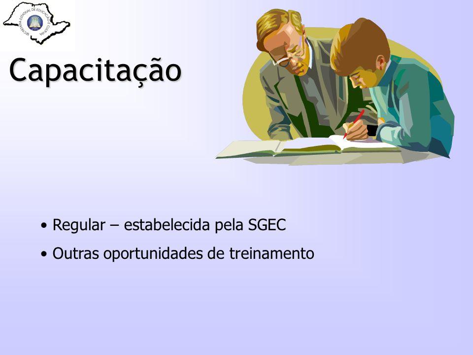 Capacitação Regular – estabelecida pela SGEC Outras oportunidades de treinamento
