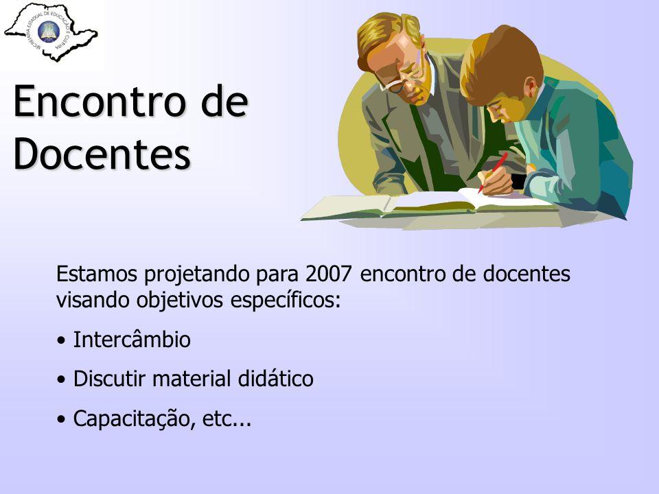 Encontro de Docentes Estamos projetando para 2007 encontro de docentes visando objetivos específicos: Intercâmbio Discutir material didático Capacitaç