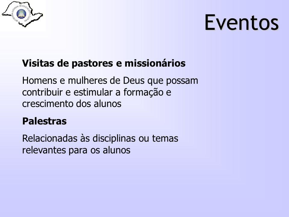 Eventos Visitas de pastores e missionários Homens e mulheres de Deus que possam contribuir e estimular a formação e crescimento dos alunos Palestras R