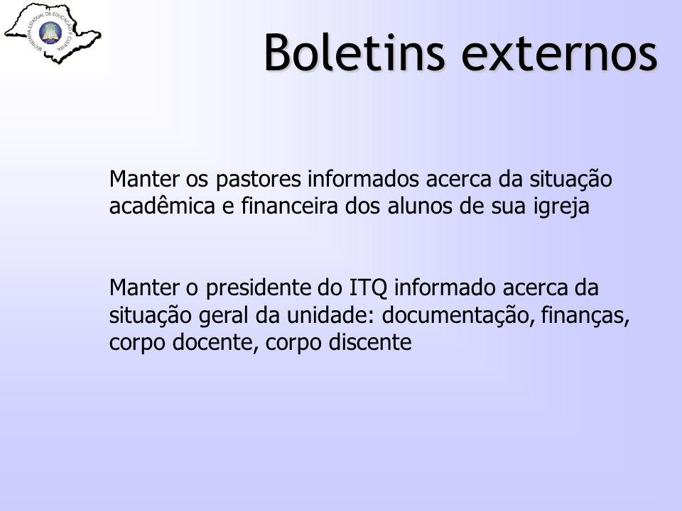 Boletins externos Manter os pastores informados acerca da situação acadêmica e financeira dos alunos de sua igreja Manter o presidente do ITQ informad