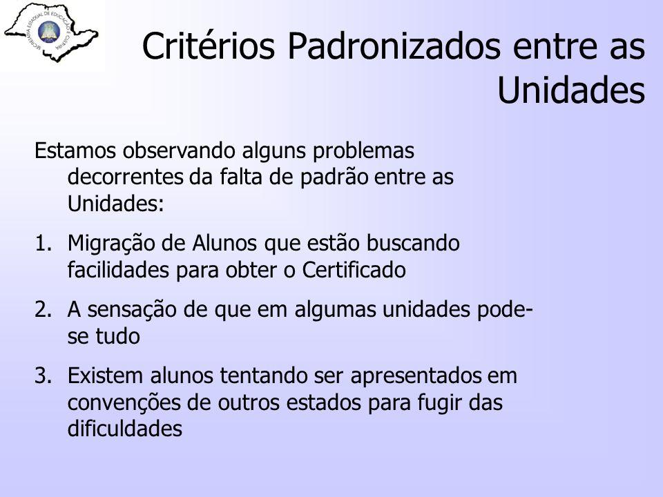 Critérios Padronizados entre as Unidades Estamos observando alguns problemas decorrentes da falta de padrão entre as Unidades: 1.Migração de Alunos qu
