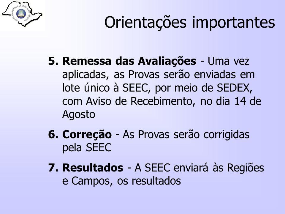 Orientações importantes 5.Remessa das Avaliações - Uma vez aplicadas, as Provas serão enviadas em lote único à SEEC, por meio de SEDEX, com Aviso de R