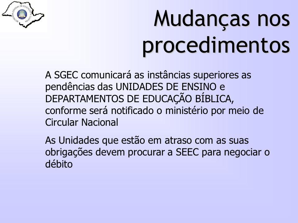 Mudanças nos procedimentos A SGEC comunicará as instâncias superiores as pendências das UNIDADES DE ENSINO e DEPARTAMENTOS DE EDUCAÇÃO BÍBLICA, confor