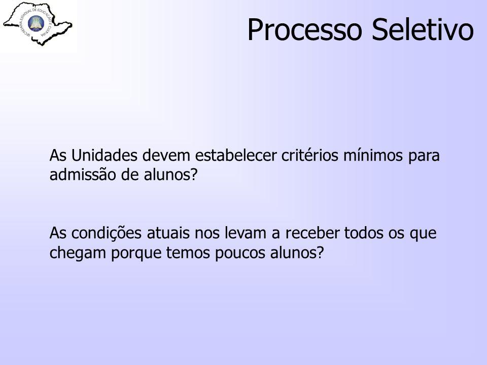 Processo Seletivo As Unidades devem estabelecer critérios mínimos para admissão de alunos? As condições atuais nos levam a receber todos os que chegam