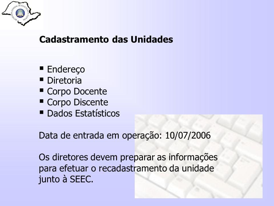 Cadastramento das Unidades Endereço Diretoria Corpo Docente Corpo Discente Dados Estatísticos Data de entrada em operação: 10/07/2006 Os diretores dev