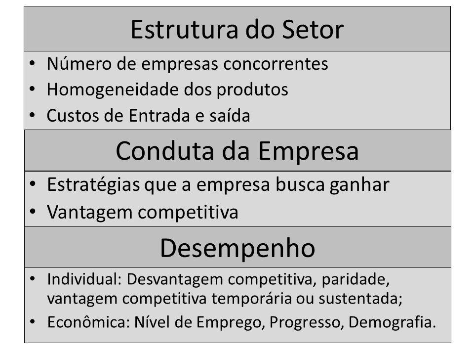 Estrutura do Setor Número de empresas concorrentes Homogeneidade dos produtos Custos de Entrada e saída Conduta da Empresa Estratégias que a empresa b