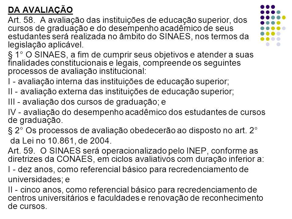 DA AVALIAÇÃO Art.58.